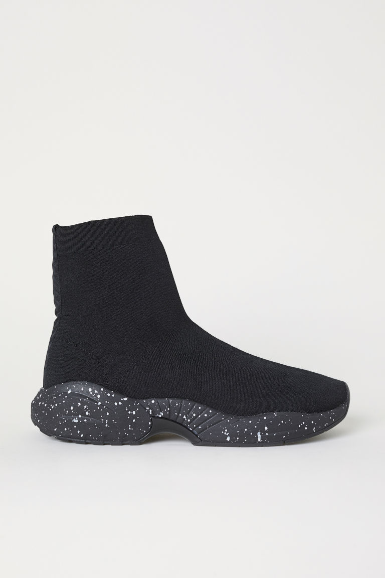 Fully-fashioned trainers - Black/White spotted - Men | H&M CN