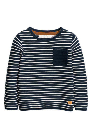 Knitted jumper - Dark blue/White striped -  | H&M