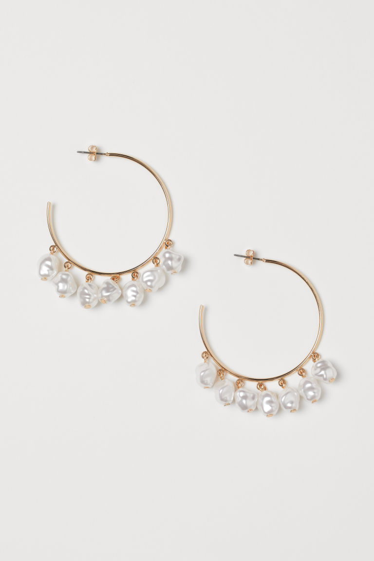 Hoop Earrings - Gold-colored/white - Ladies | H&M CA