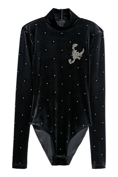 Body with sparkly stones - Black/Sparkly stones - Ladies | H&M CN
