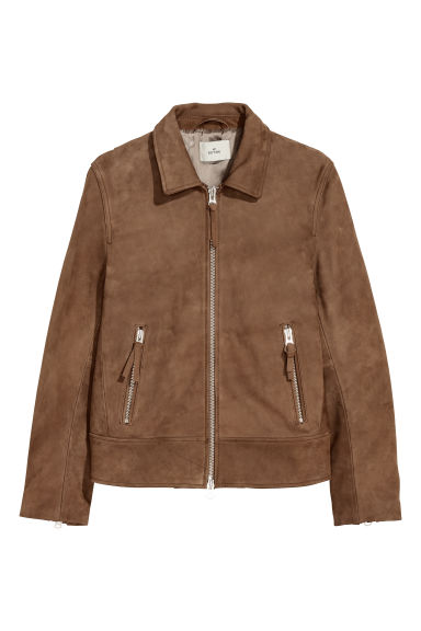 Leather jacket - Brown - Men | H&M