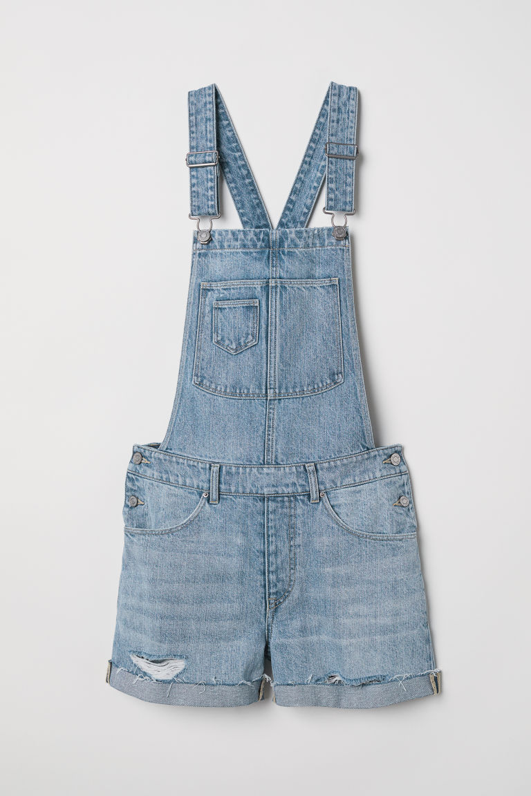 Denim dungaree shorts - Denim blue - Ladies | H&M GB