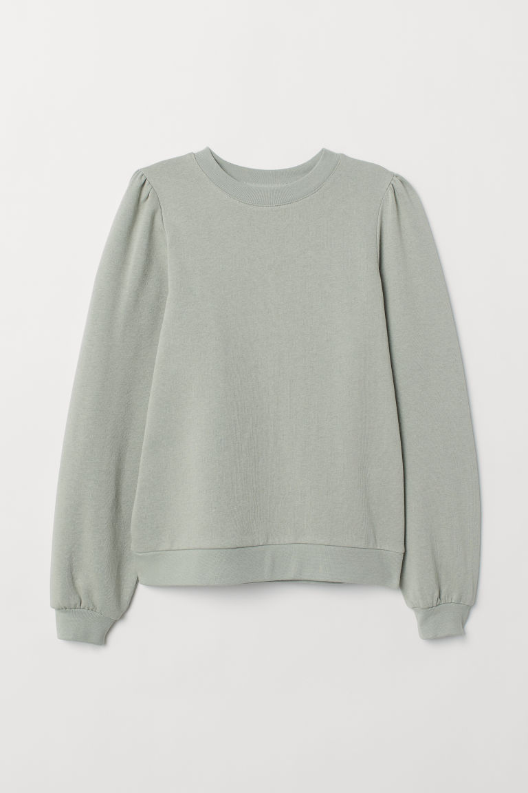 Puff-sleeved sweatshirt - Dusky green - Ladies | H&M IN