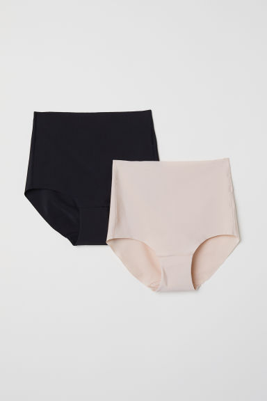 2-pack Light Shaping Briefs - Black/Light beige - Ladies | H&M CN