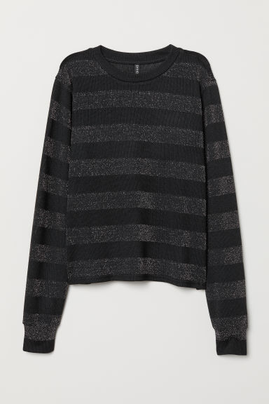 Glittery jumper - Black/Striped -  | H&M CN