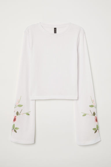 Top avec broderies - Blanc -  | H&M FR