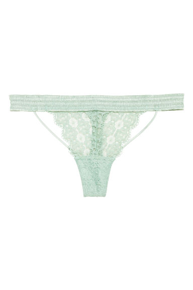 Lace thong briefs - Dusky green -  | H&M