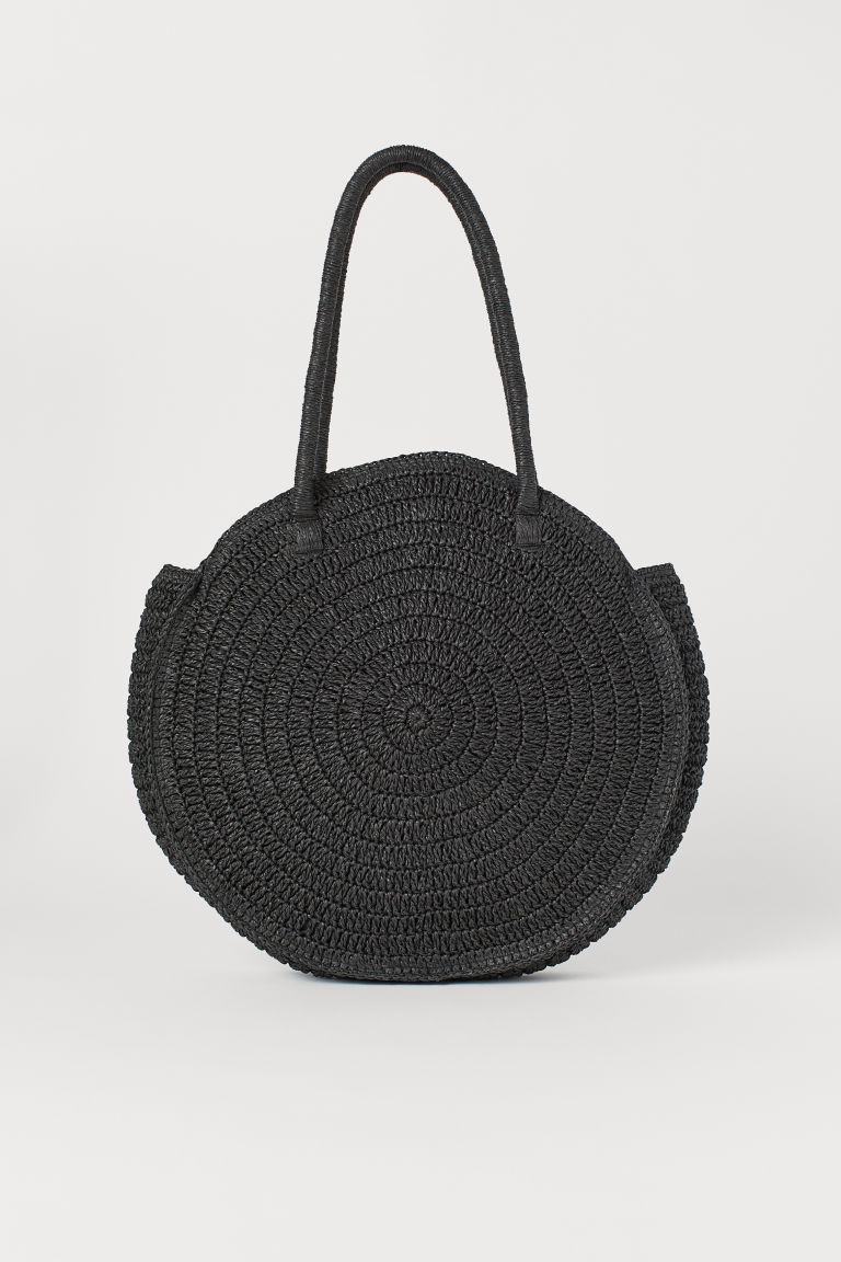 Round Straw Bag - Black - Ladies | H&M US