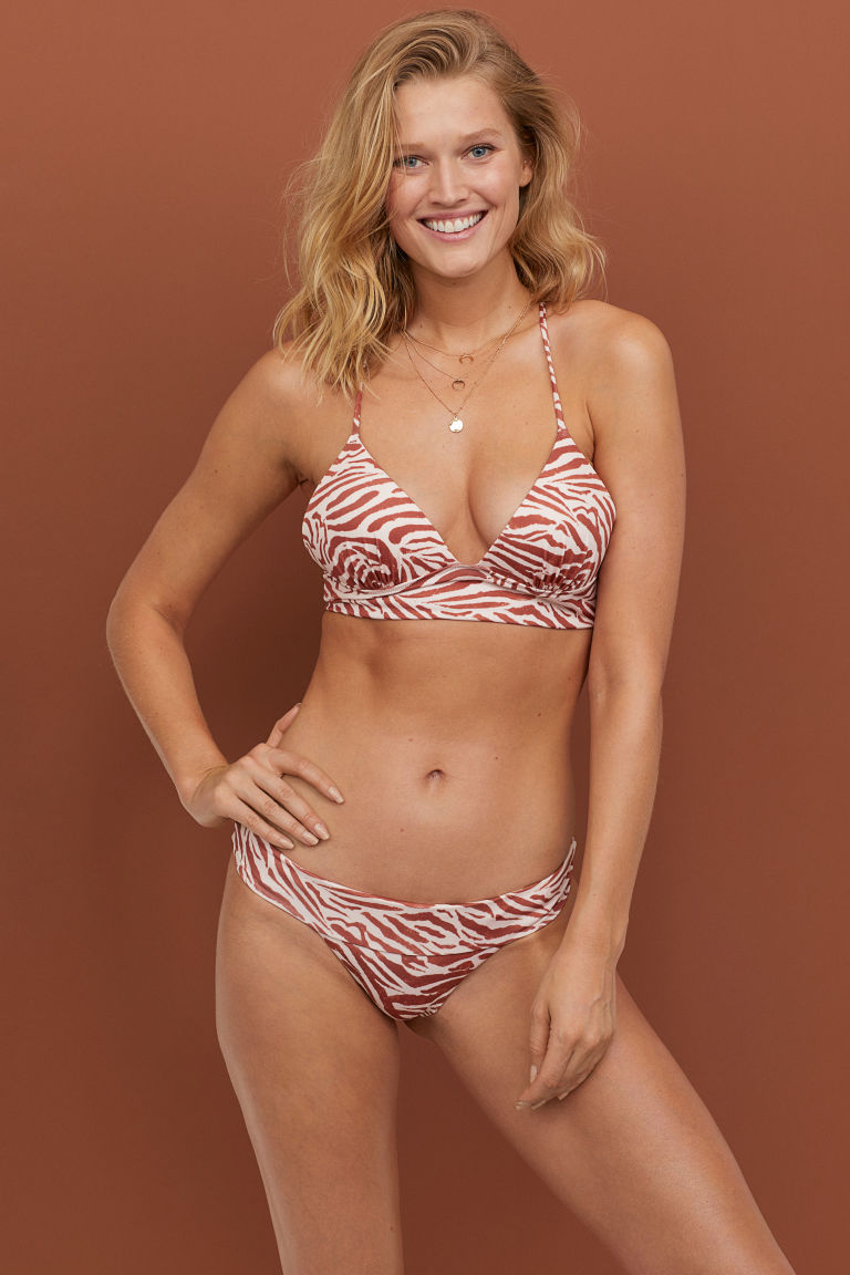 Push-up triangle bikini top - Powder pink/Zebra print - Ladies | H&M IE