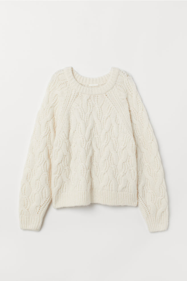 c61365430e73b4 ... Cable-knit Sweater - Cream - Ladies