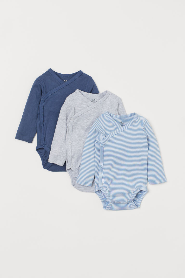 3-pack long-sleeved bodysuits - Pigeon blue/Striped - Kids | H&M
