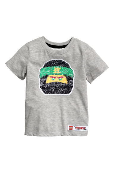 Reversible sequin T-shirt - Grey marl/Lego -  | H&M