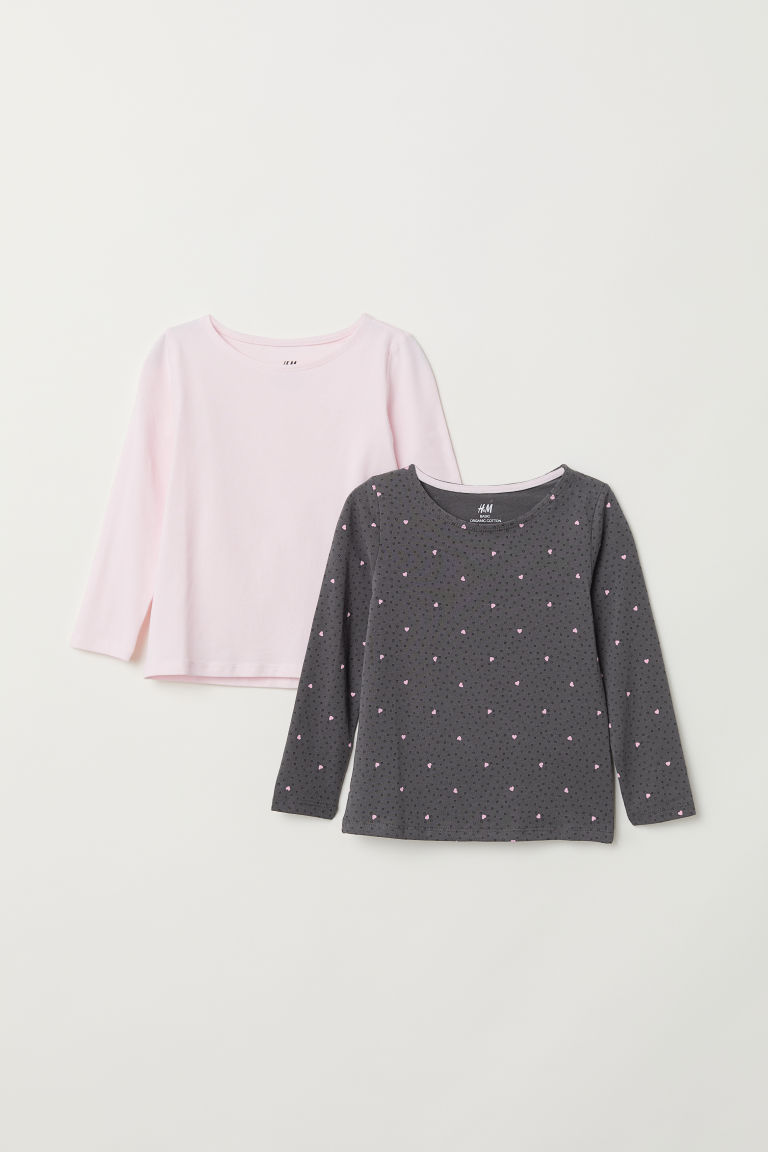 2-pack long-sleeved tops - Dark grey/Hearts -  | H&M