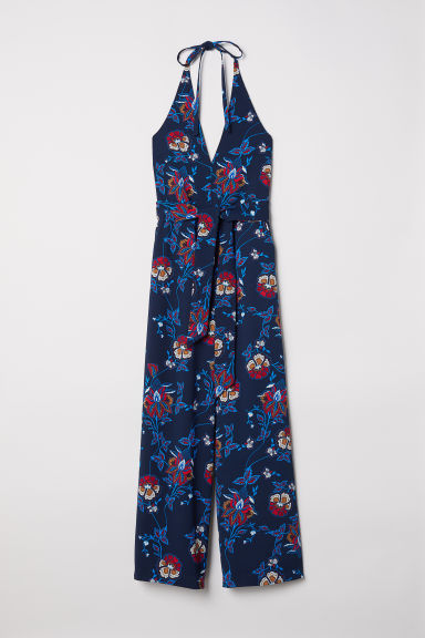 Halterneck jumpsuit - Dark blue/Floral - Ladies | H&M CN