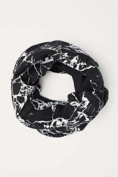 Jersey tube scarf - Black/White patterned -  | H&M