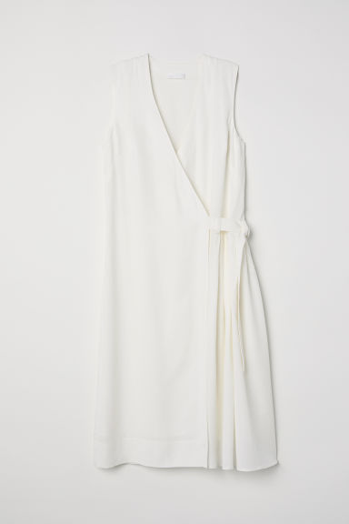 Lyocell wrap dress - White - Ladies | H&M CN