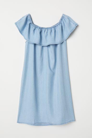 Off-the-shoulder dress - Light blue - Kids | H&M