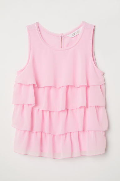 Tiered chiffon top - Light pink - Kids | H&M CN