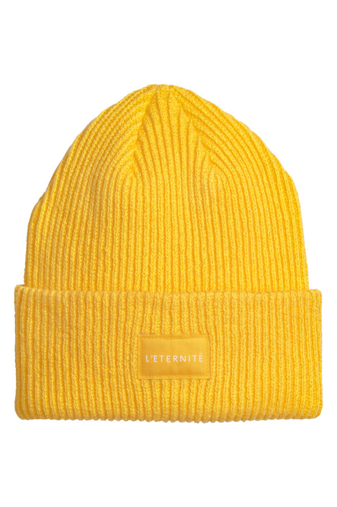 Rib-knit Hat - Yellow - Ladies  4bb3c99febc