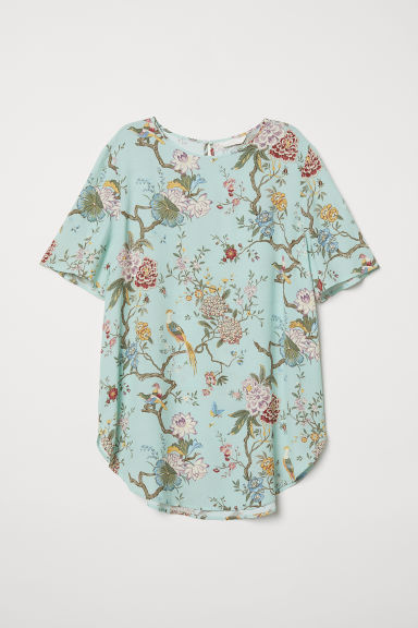 Patterned top - Light green/Floral - Ladies | H&M