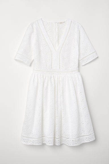 Embroidered dress - White -  | H&M