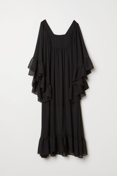 Maxi dress with flounces - Black - Ladies | H&M