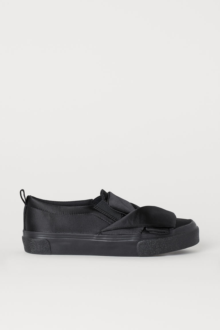 Satin slip-on trainers - Black -  | H&M GB
