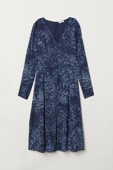 V-neck dress - Dark blue/Patterned - Ladies | H&M