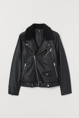 Pile-collared biker jacket