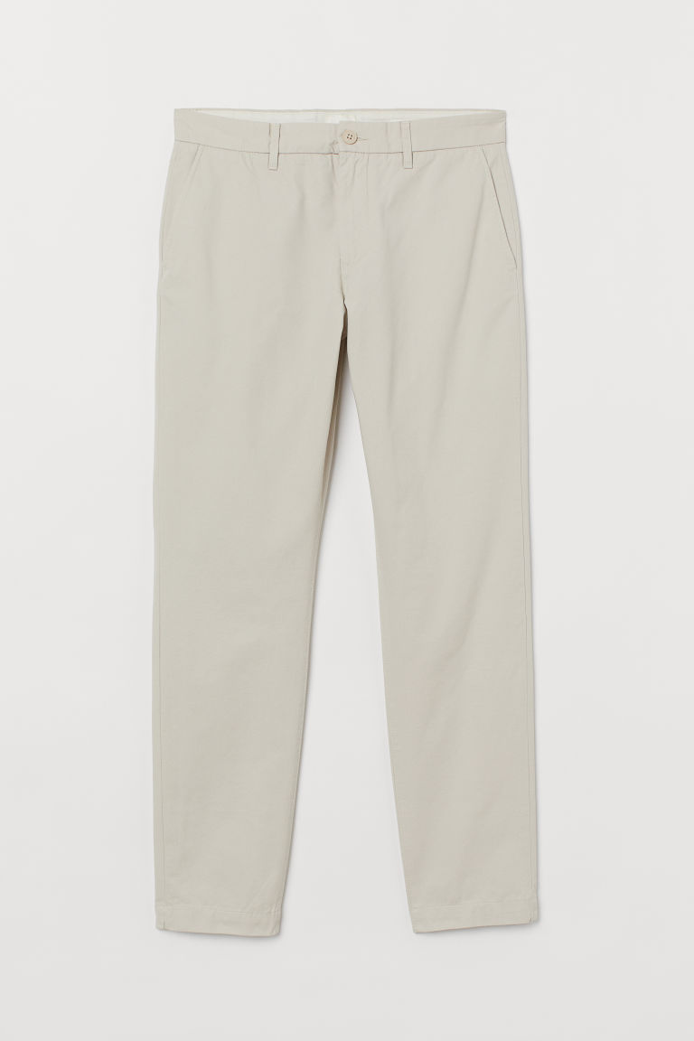 Chino en coton Slim fit - Beige clair - HOMME | H&M FR
