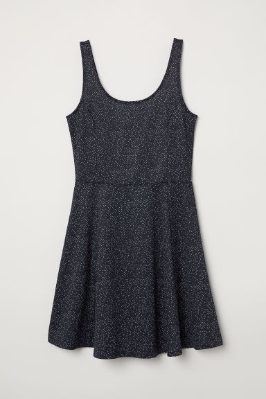 Sleeveless jersey dress - Dark blue/Spotted - Ladies | H&M