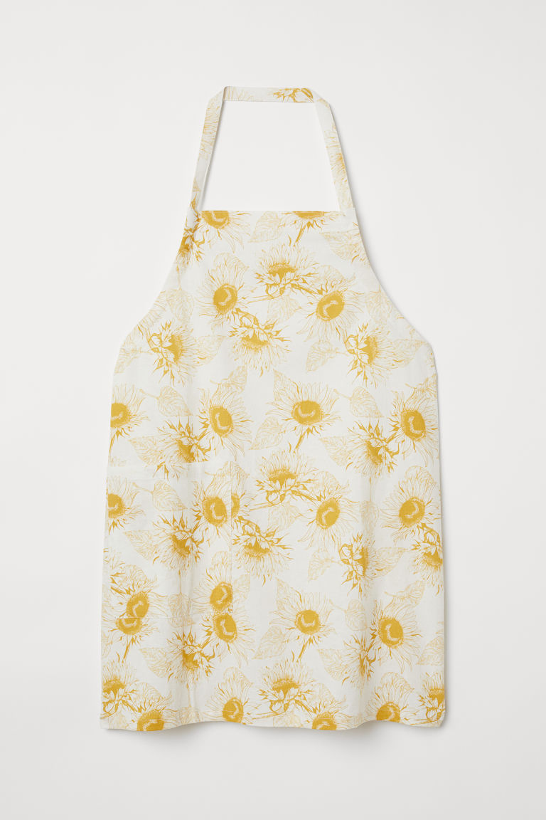 Linen-blend Apron - White/sunflowers - Home All | H&M CA