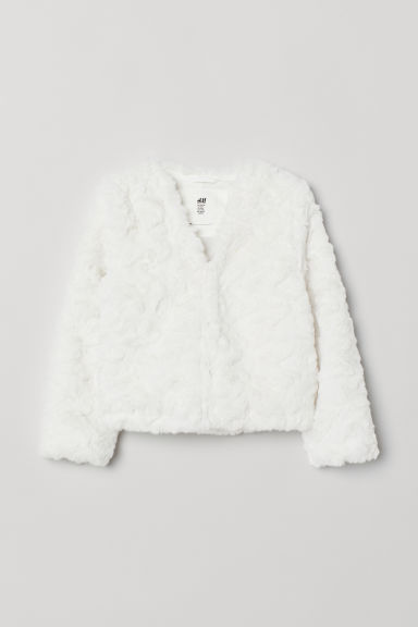 Faux fur cardigan - White - Kids | H&M CN