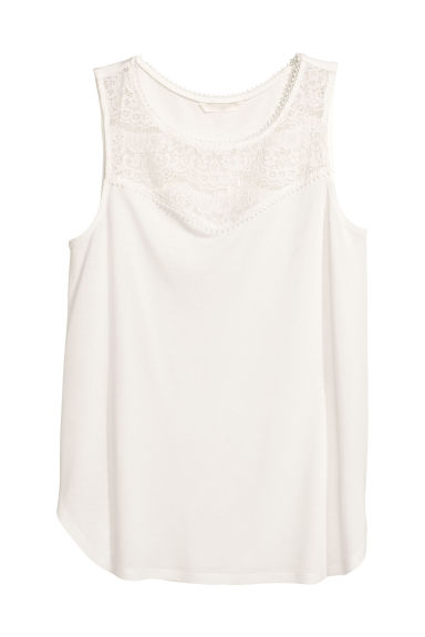 Sleeveless jersey top - White - Ladies | H&M