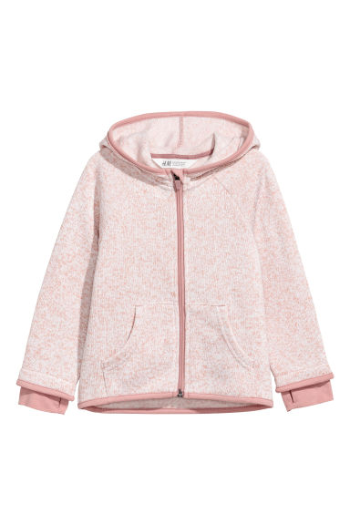 Knitted fleece jacket - Pink marl - Kids | H&M CN