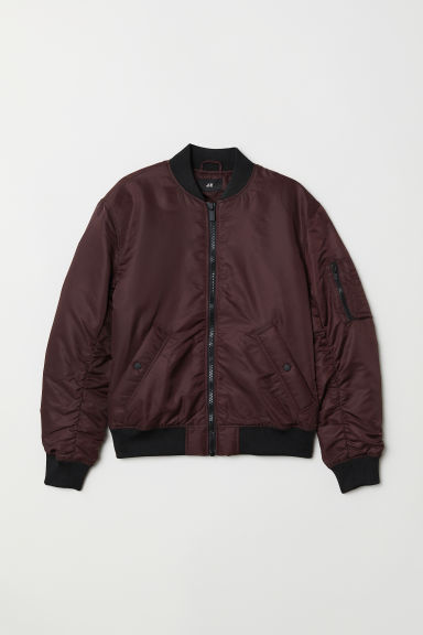 Padded bomber jacket - Burgundy - Men | H&M