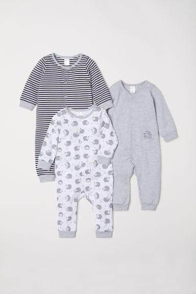 3-pack cotton pyjamas - Light grey/Hedgehog - Kids | H&M