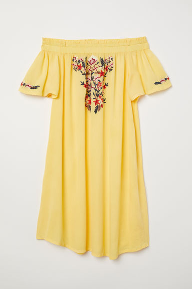 Off-the-shoulder dress - Yellow - Ladies | H&M