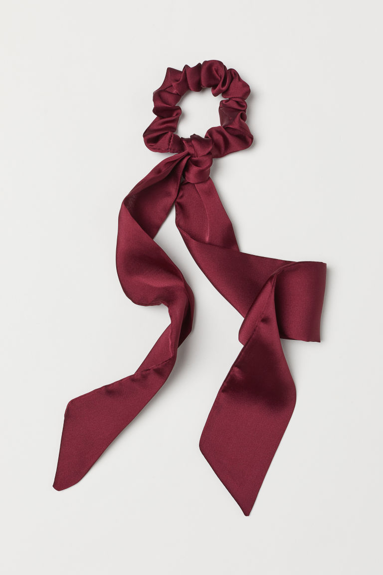 Scrunchie with ties - Burgundy -  | H&M