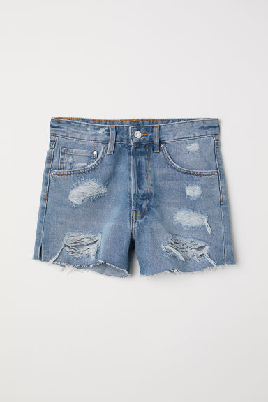 Denim shorts Mom Fit - Denim blue/Trashed - Ladies | H&M