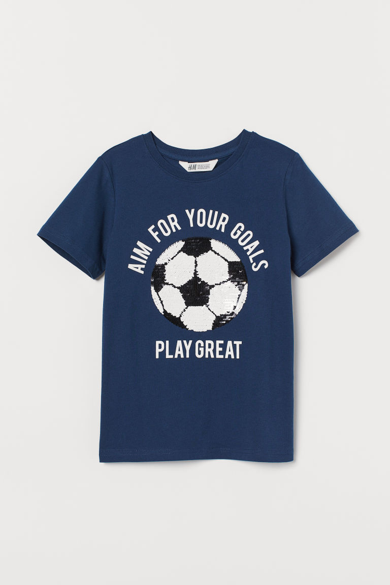 Reversible sequin T-shirt - Dark blue/Football - Kids | H&M GB