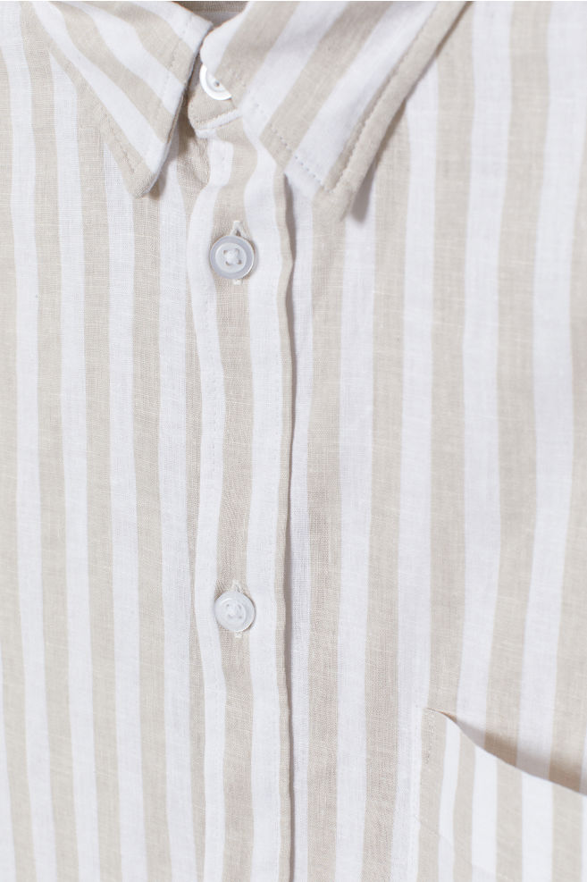 a0e0105fb2 ... Slim Fit Linen-blend Shirt - Light beige/white striped - Men | H&M