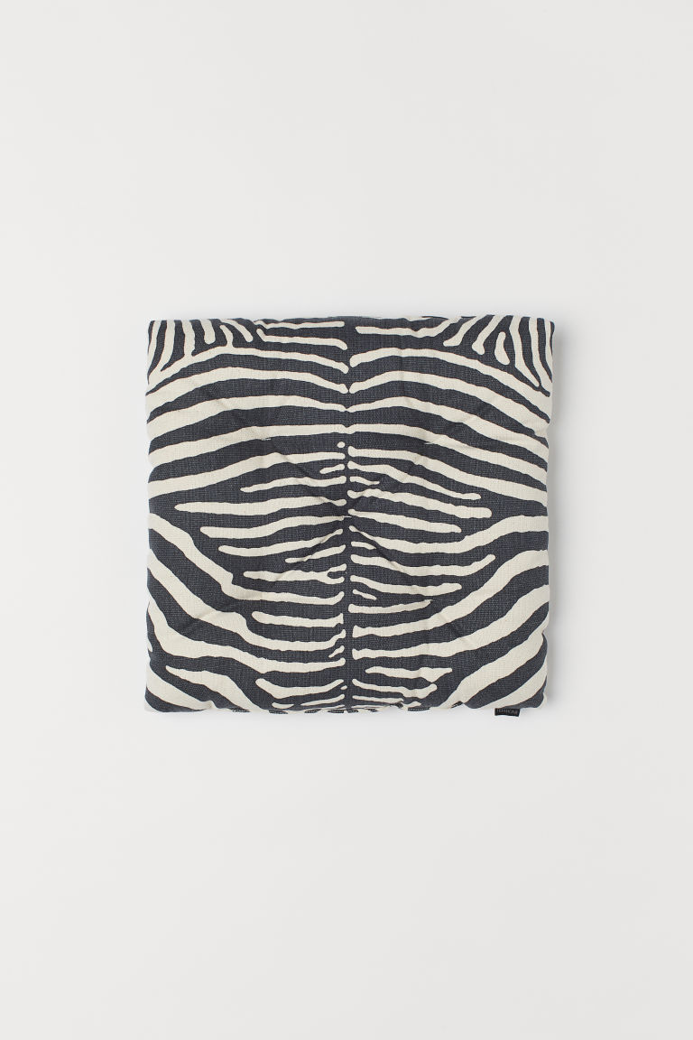 Patterned seat cushion - Dark grey/Zebra-patterned - Home All | H&M CN