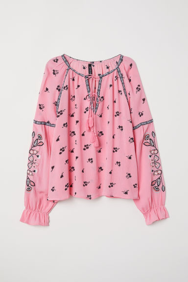 Embroidered blouse - Pink/Flowers - Ladies | H&M