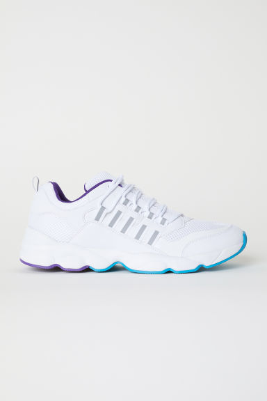 Mesh trainers - White/Purple - Men | H&M