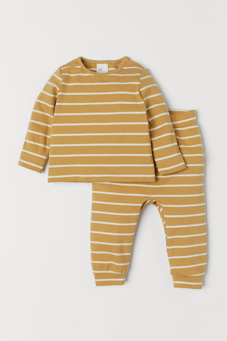 Cotton Top and Pants - Dark yellow/white striped - Kids | H&M US