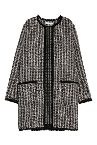 Textured-weave coat - Black/Checked - Ladies | H&M CN