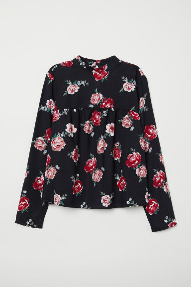 Patterned blouse - Black/Floral -  | H&M CN