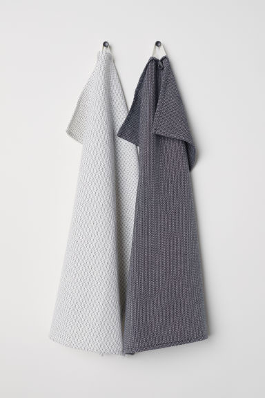 2-pack tea towels - White/Dark grey - Home All | H&M CN