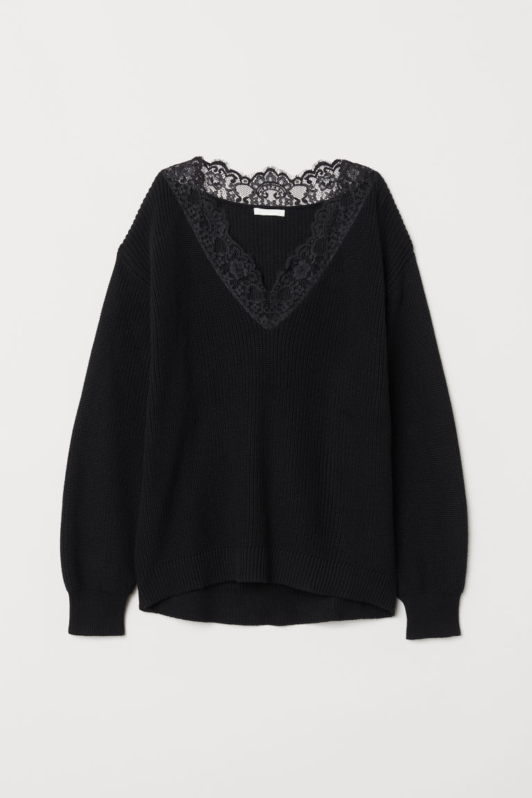 Knitted jumper with lace - Black - Ladies | H&M